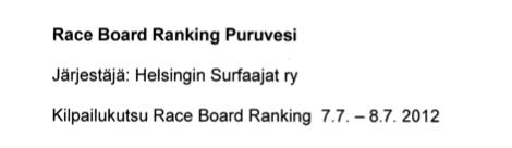 Raceboard Ranking Puruvesi