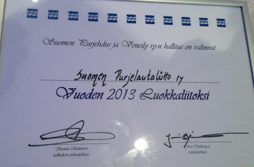 Suomen Purjelautaliitosta Vuoden Luokkaliitto 2013!